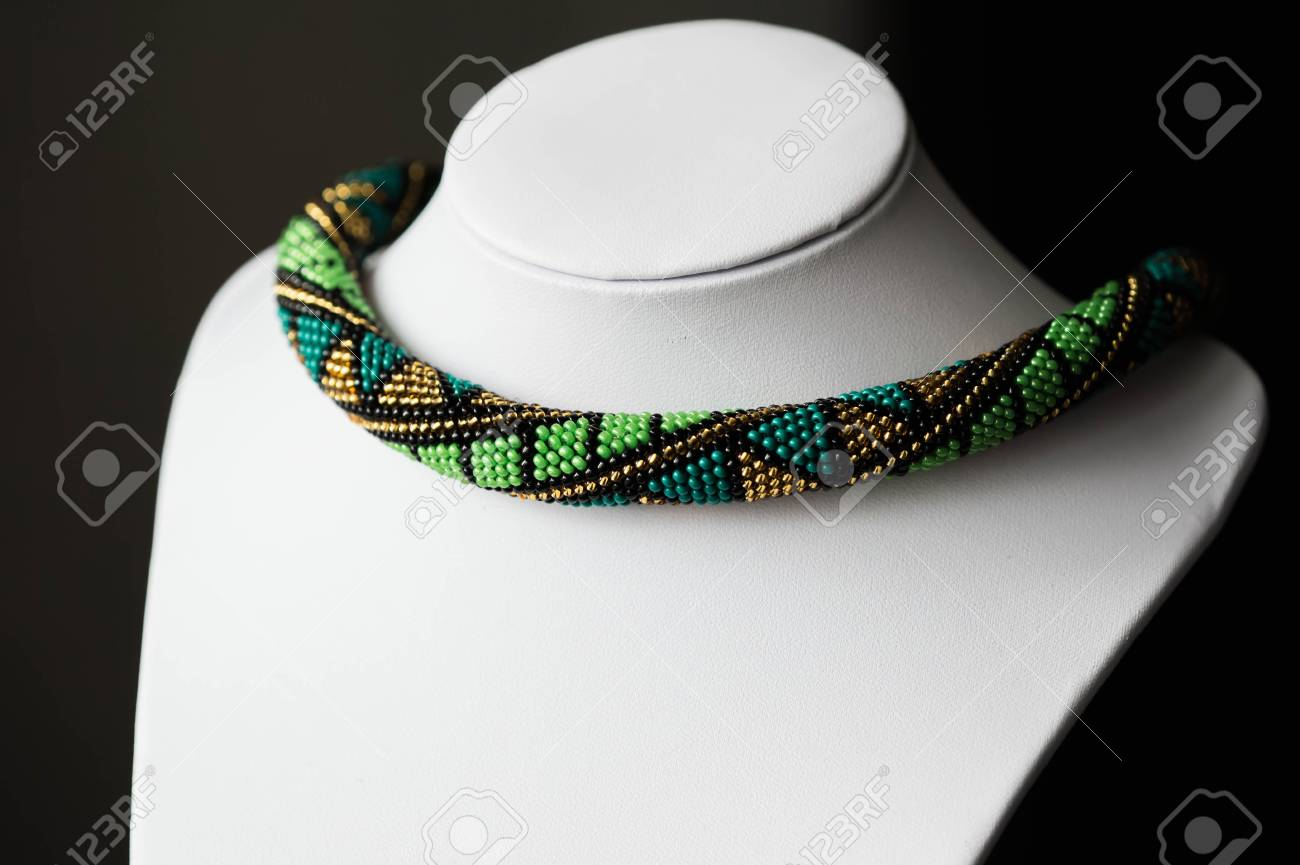 Handmade Crochet Beaded Necklace With Geometrical Pattern Stock ...