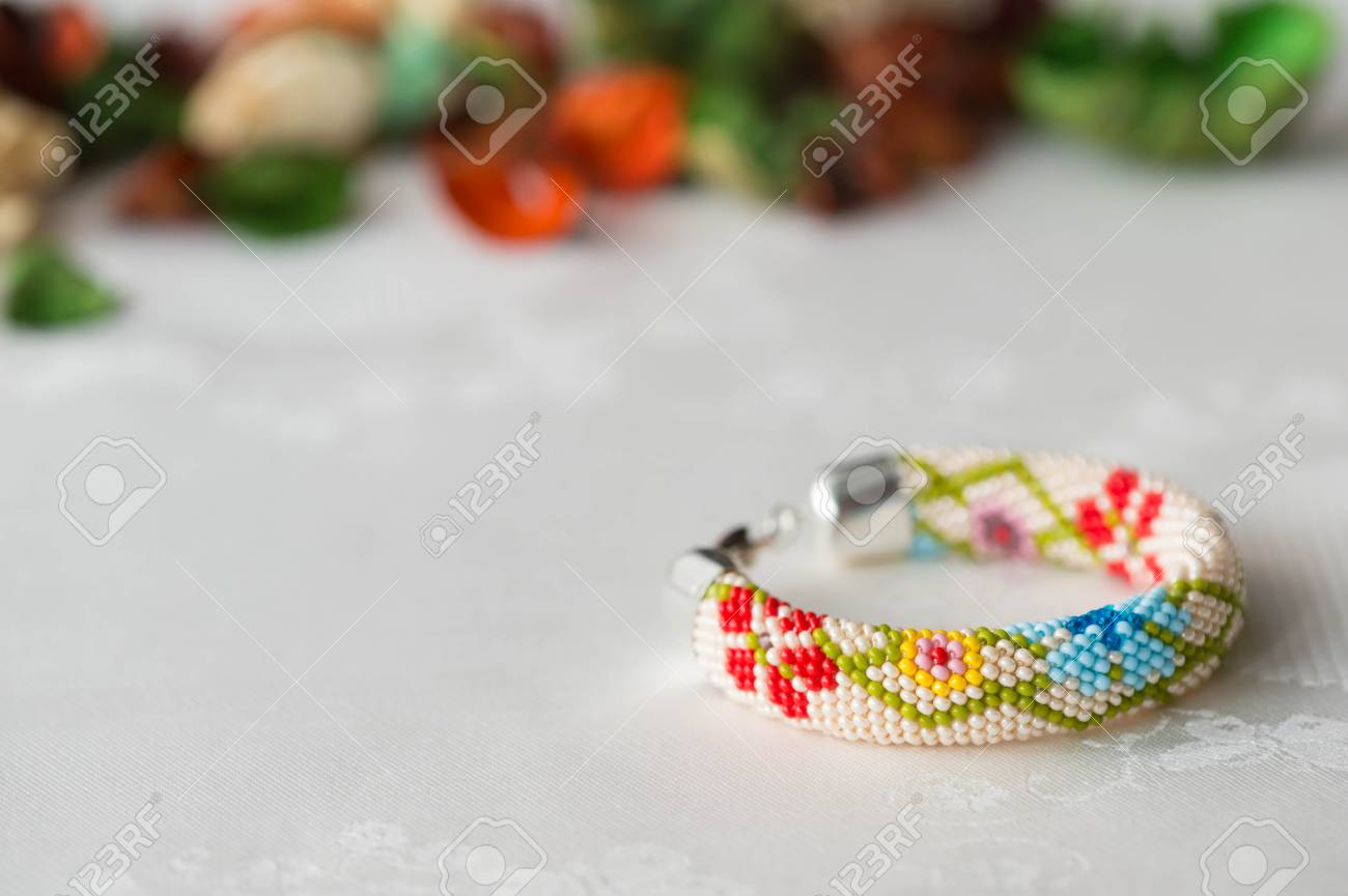 Beaded Crochet Bracelet With Floral Pattern Close Up Stock Photo