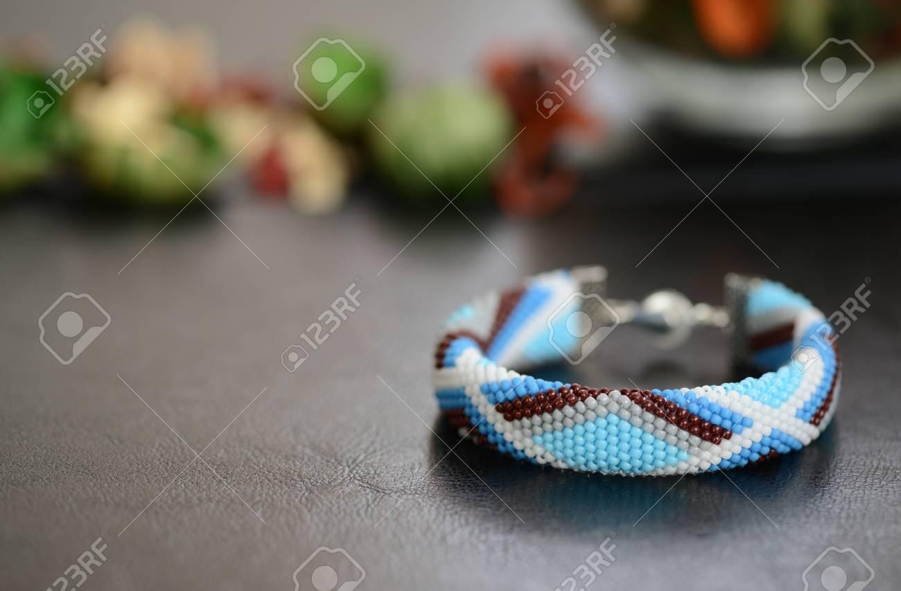 Blue Bead Crochet Bracelet With Geometrical Pattern Stock Photo