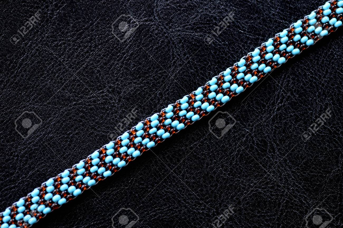 Peyote Choker Necklace Made Of Seed Beads On A Dark Background Stock Photo Picture And Royalty Free Image Image 125812521
