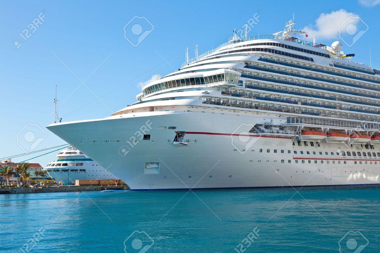Luxury cruise ship anchored in the port of Nassau, Bahamas - 19447011