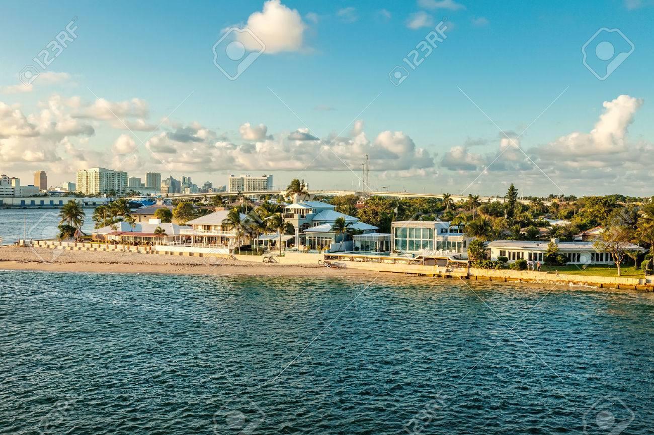 Intercoastal waterway and cruise port in Fort Lauderdale, Florida - 29608661
