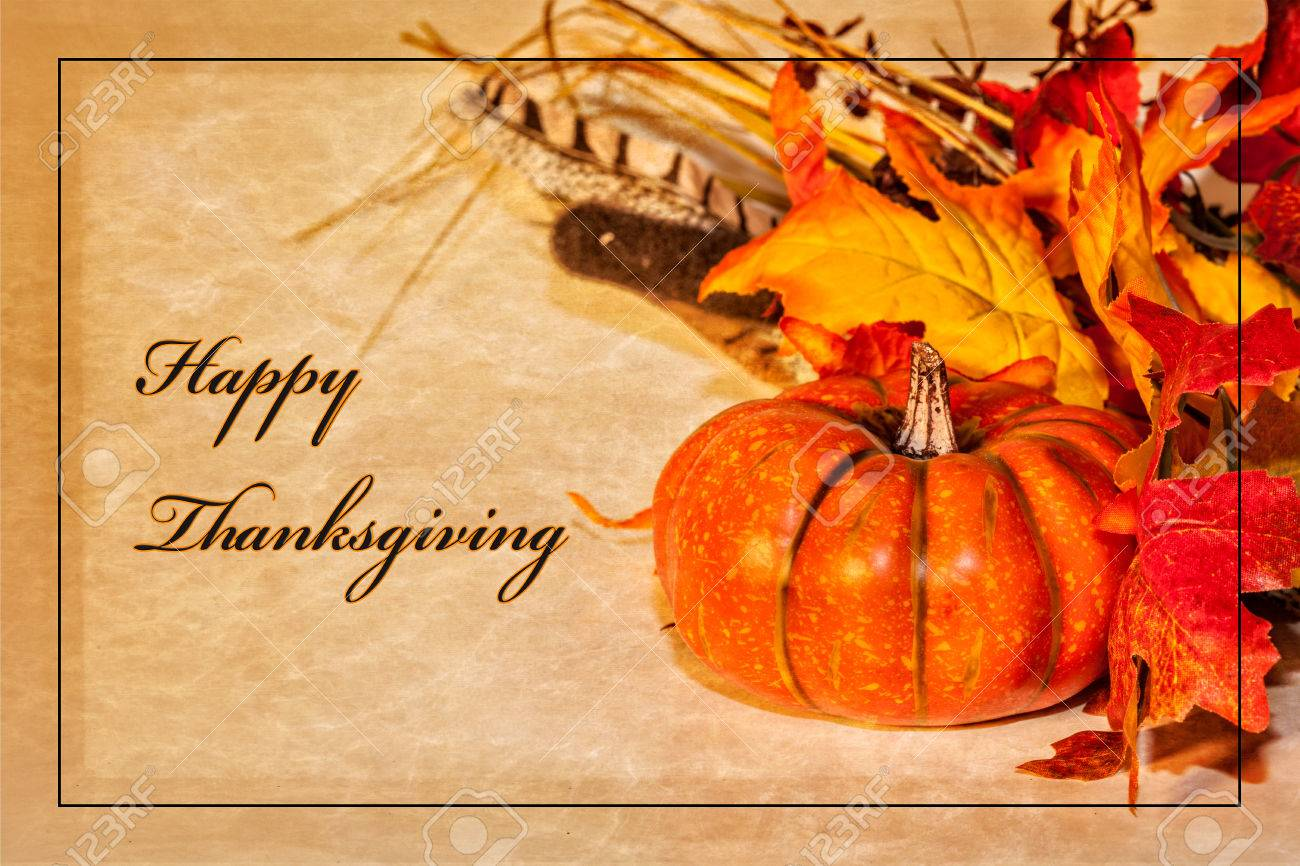 A Happy Thanksgiving Card With Autumn Decorations And Text