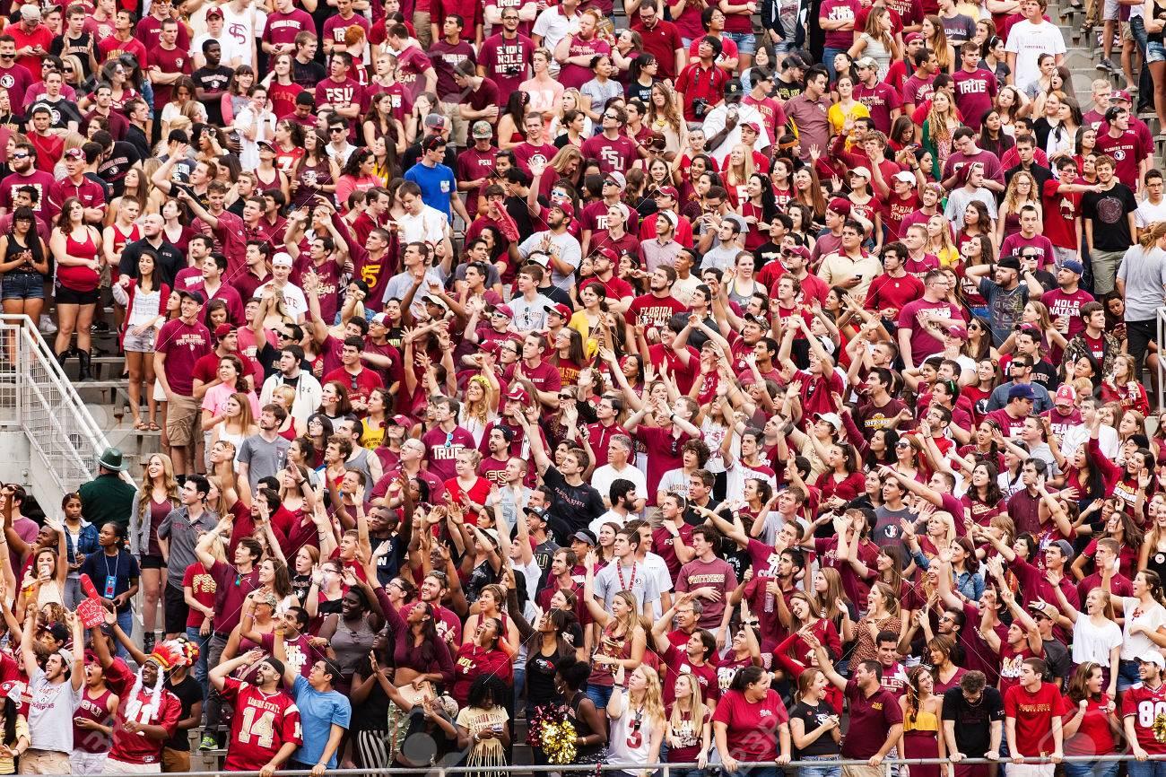 Tallahassee, FL - Nov. 23, 2013: Students at a Florida State University football game cheer for their Seminoles at Doak Campbell Stadium. - 50217313