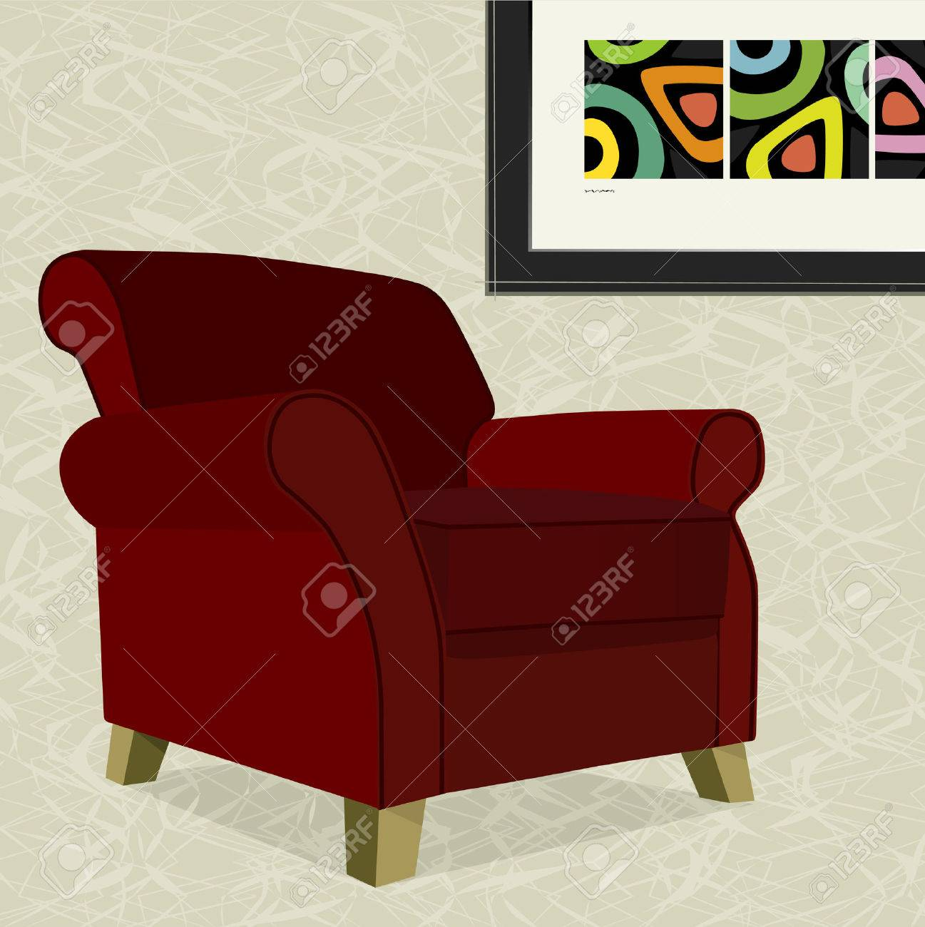 whimsical comfy overstuffed armchair with abstract painting