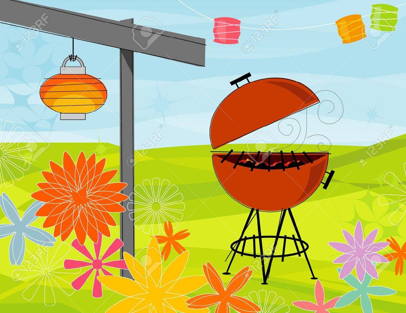 retro stylized summer barbeque party items are whole and grouped