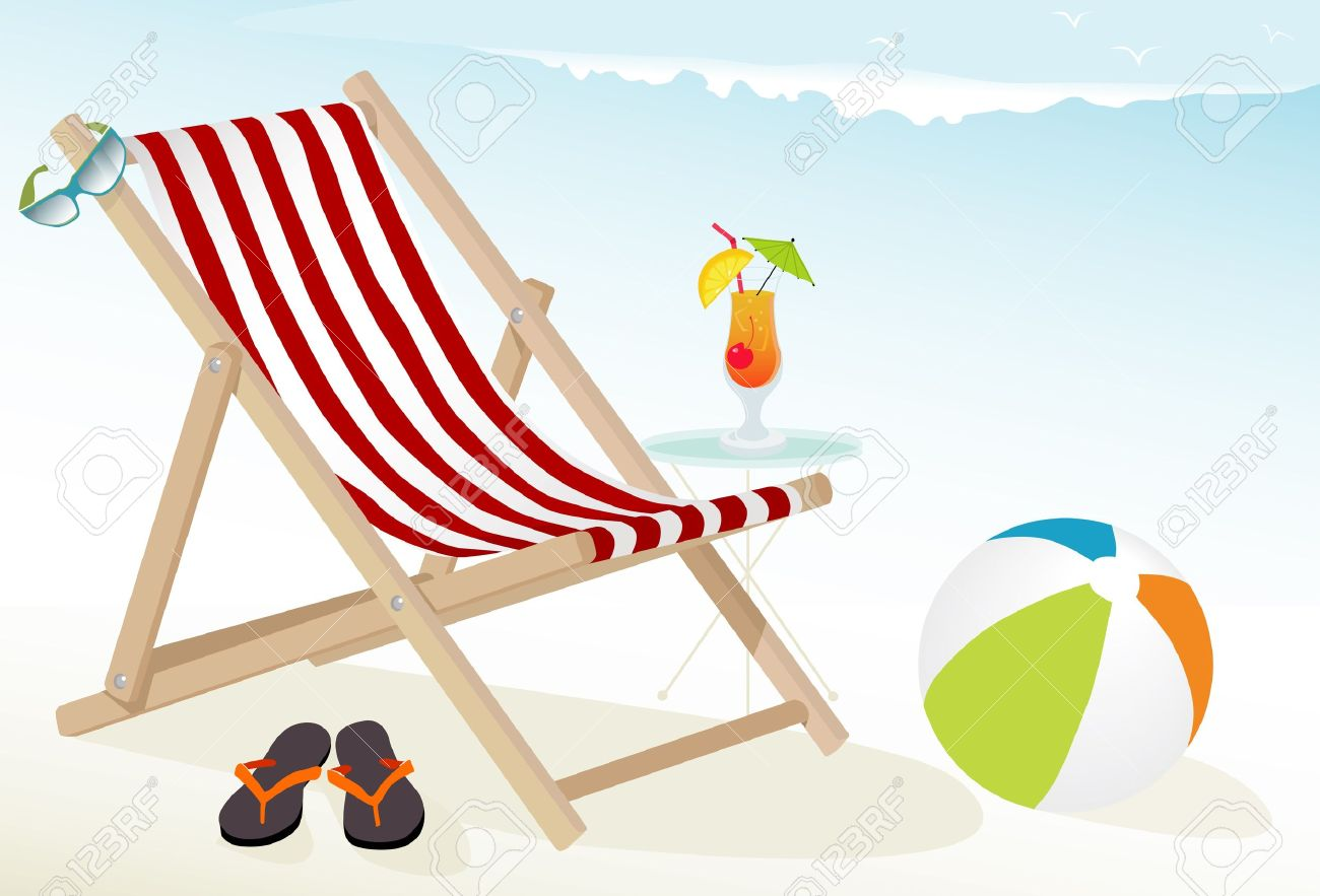 Fun At The Beach Icons: Tropical Cocktail, Deck Chair, Sunglasses, Beach  Ball