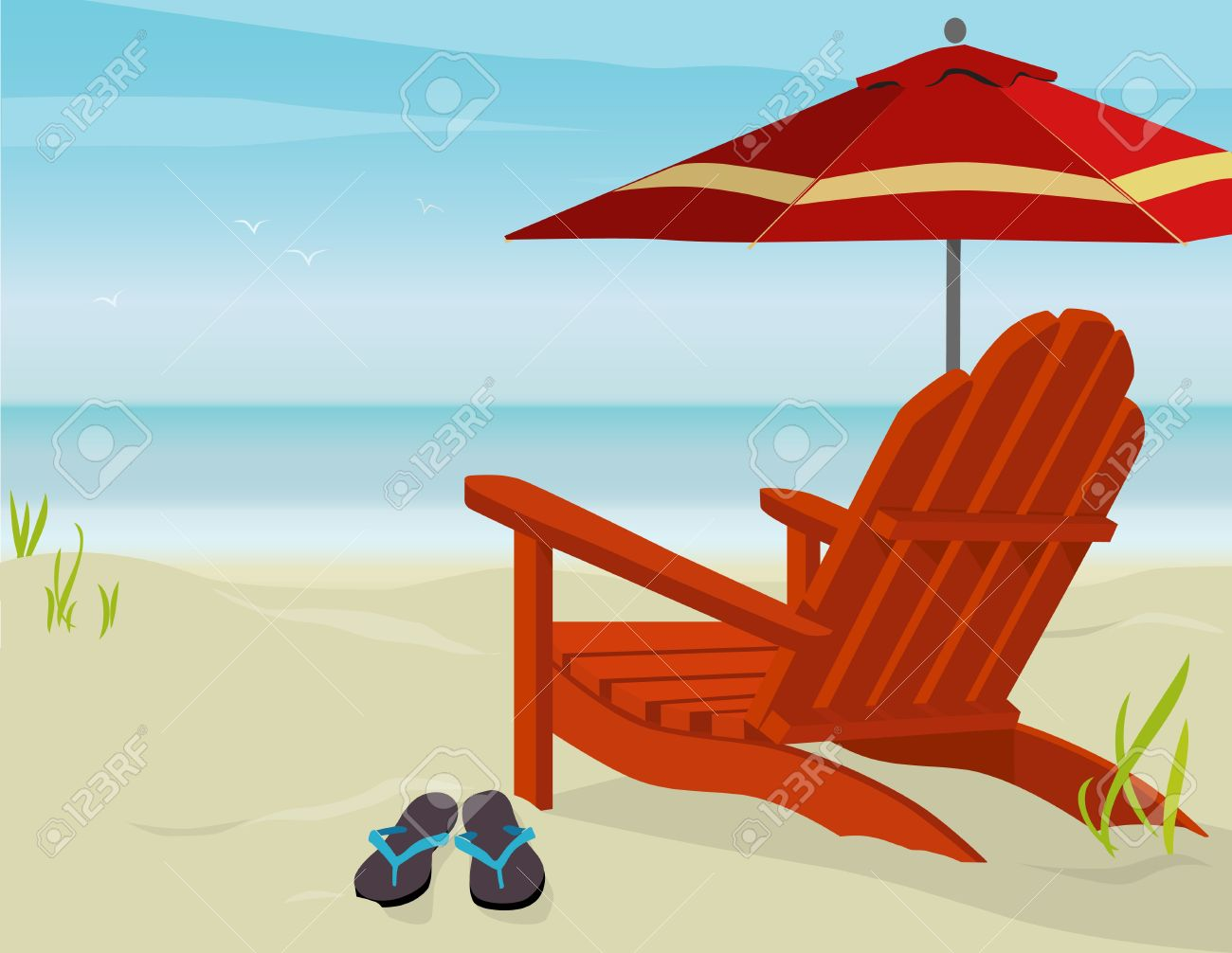 Beach chair back - Beach Chair Adirondack Chair And Market Umbrella At Beach Easy Edit Layered File