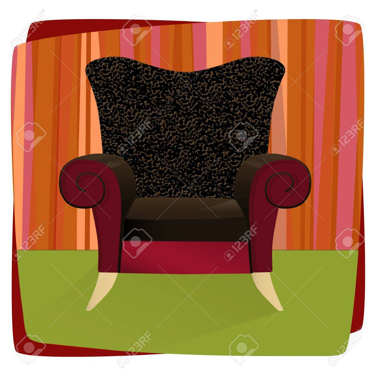 Whimsical Comfy Overstuffed Chair With Leopard Print Velvet