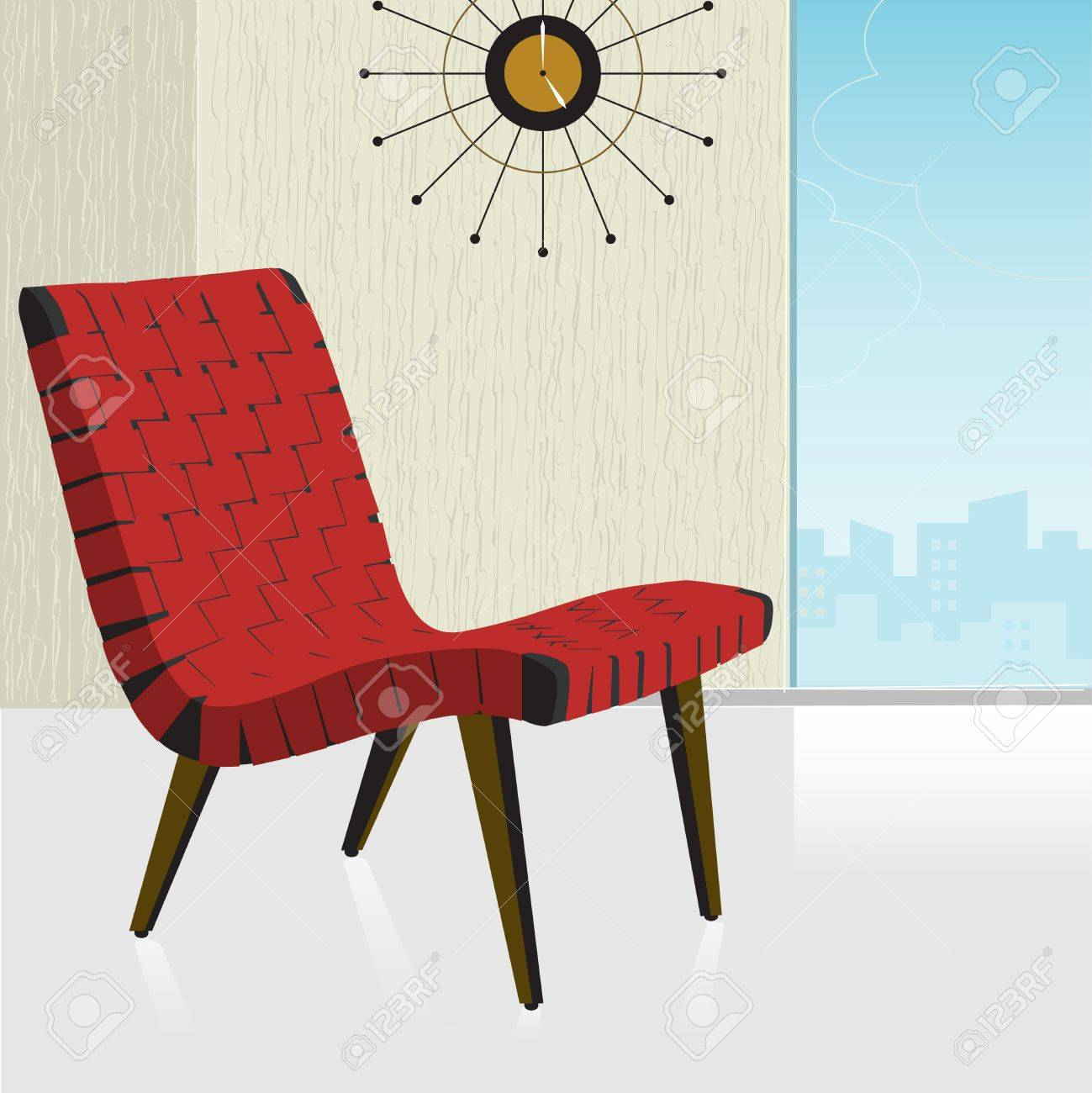 vintage retro red chair with a stylish background easy edit