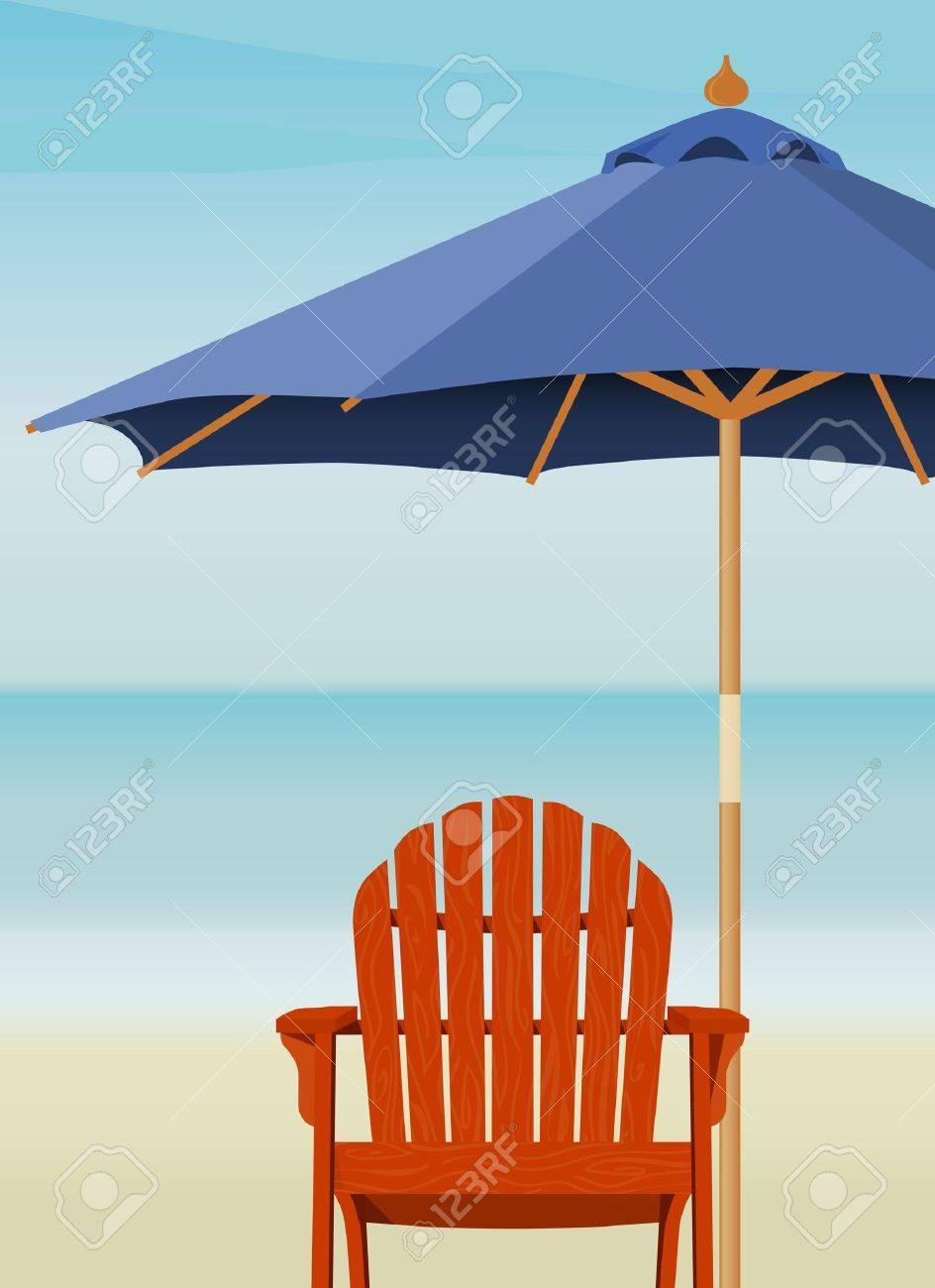 Beach chair with umbrella painting - Beach Umbrella Adirondack Chair And Market Umbrella At Beach Chair And Umbrella Are Complete