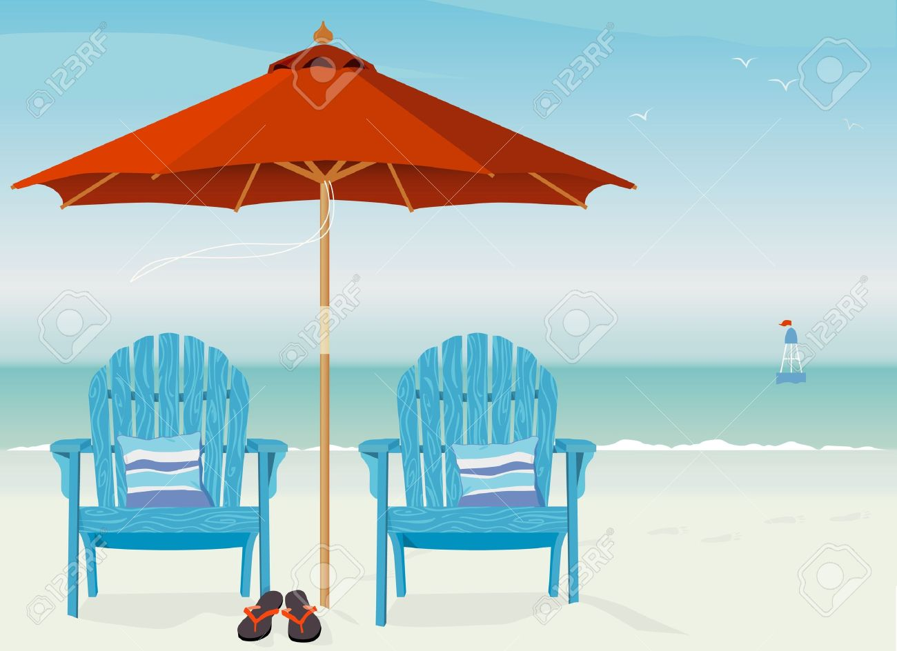 Adirondack Chairs At Beach Relaxing Scene On A Breezy Day At The Beach  Stock Vector