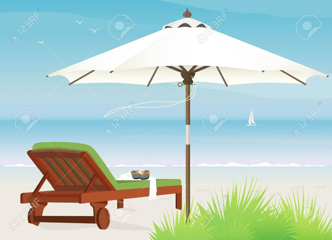 Relaxing scene on a breezy day at the beach, chaise lounge and market umbrella Stock Vector - 9801004