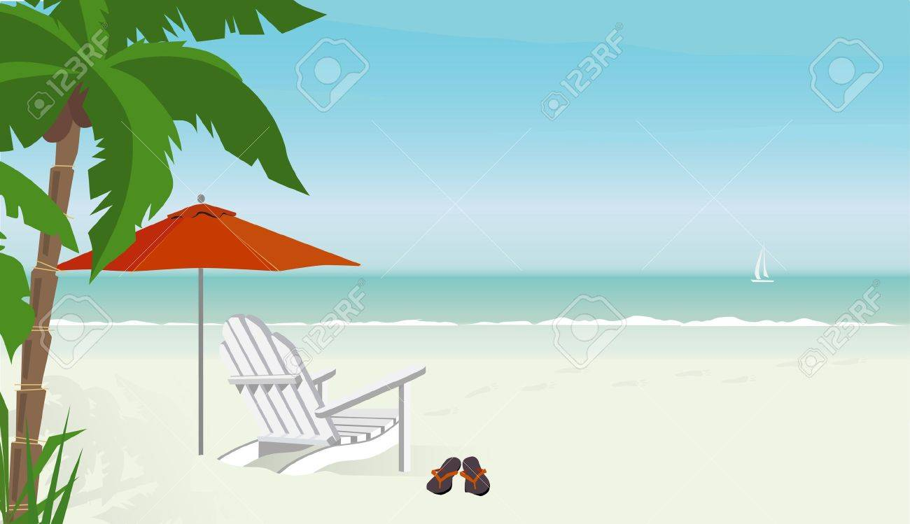 Flip Flop Chair Deck Chair On A Tropical Beach With Flip Flops Sailboat In
