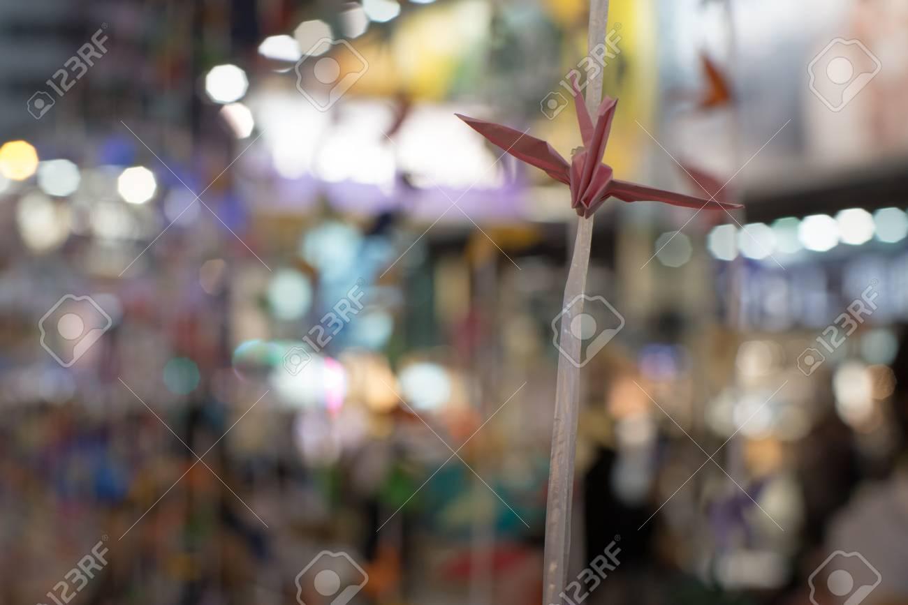 Japanese Origami Crane Decoration A Street Blocking Demonstration In 2014 Causeway Bay Hong