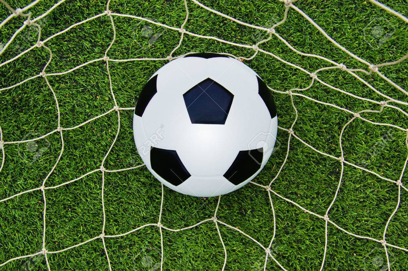 The Soccer Ball On The Net With Green Grass Soccer Field Stock Photo ... cc8fa33be