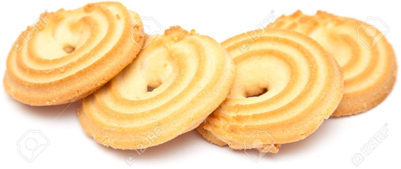 shortbread ring biscuit isolated on white Stock Photo - 22338298