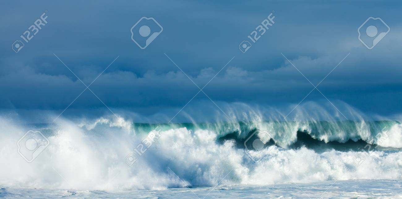 powerful ocean waves breaking, natural background Stock Photo - 24975739