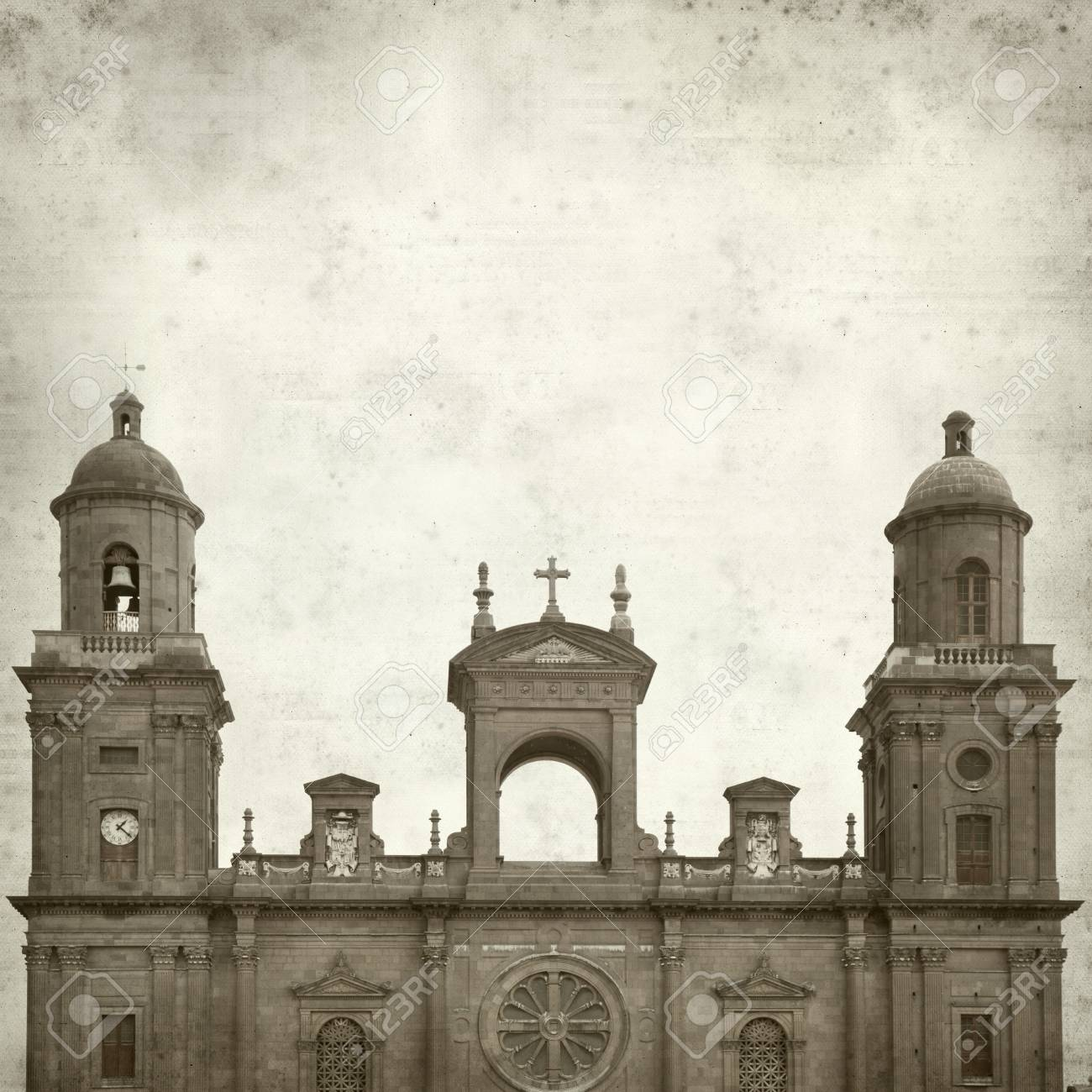 Textured Old Paper Background With Catedral De Santa Ana In Las