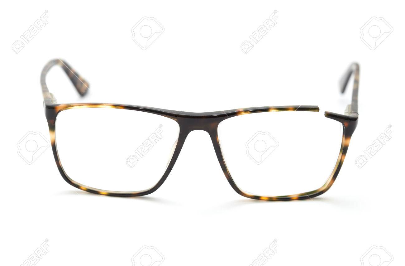 Glasses With Broken Brown Frame Isolated On White Background Stock ...