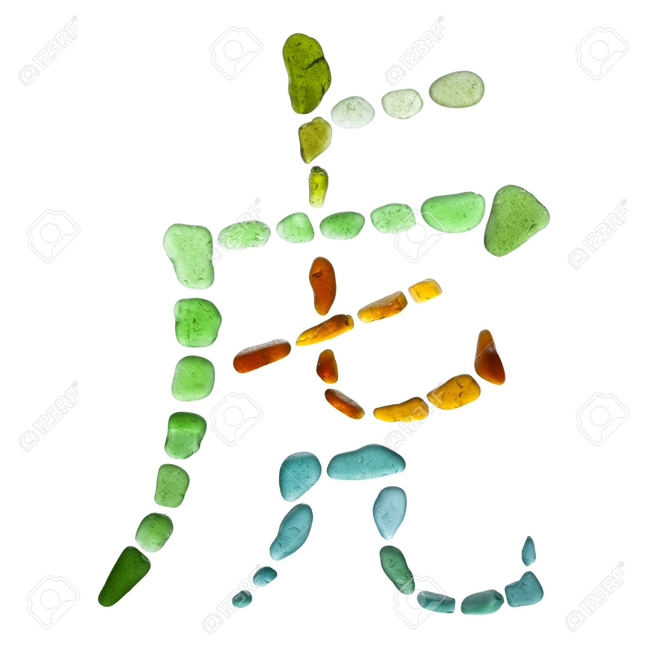 Chinese Symbol Hu Tiger Made Of Sea Glass On White Background