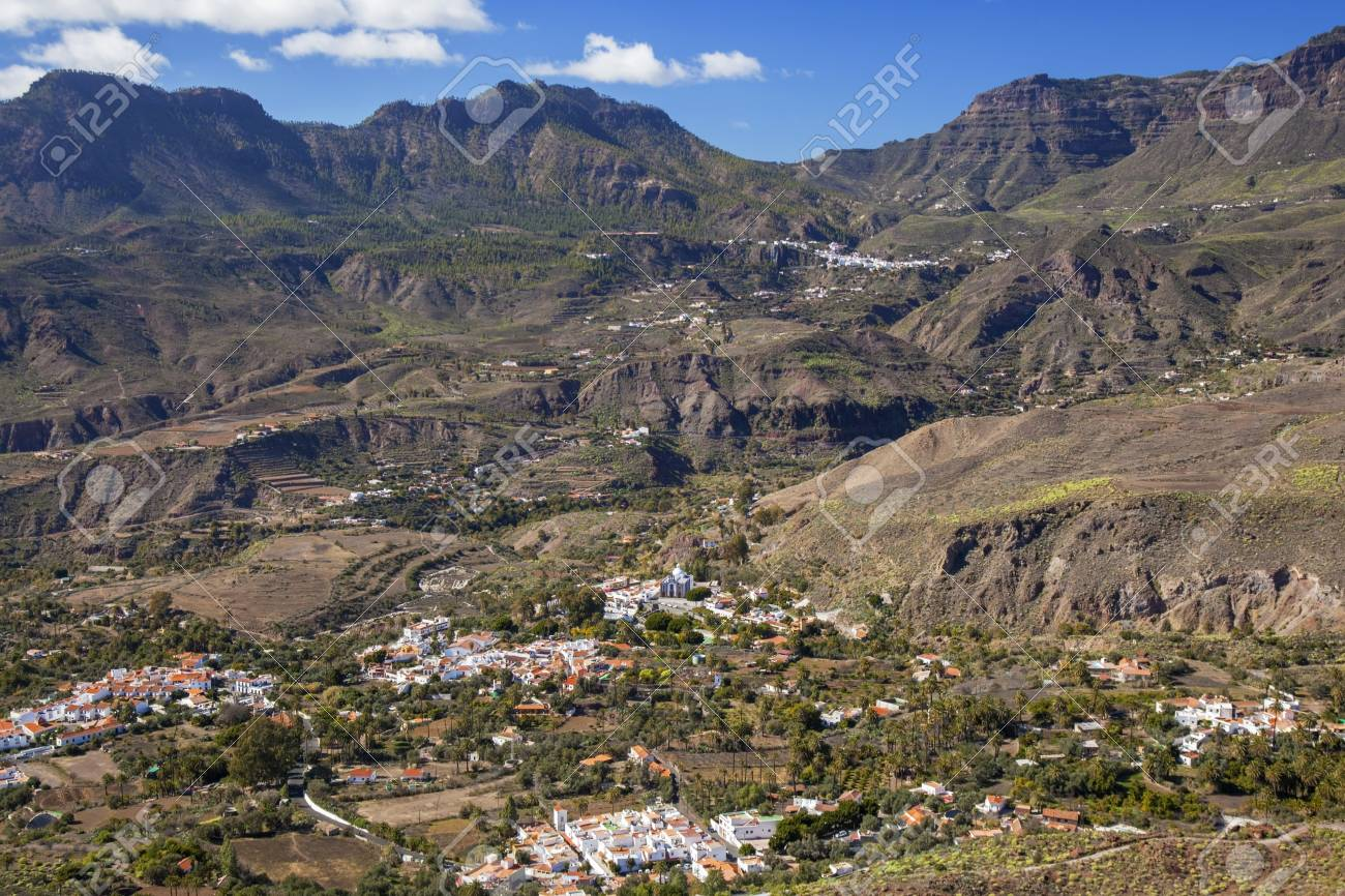 Gran Canaria January View Across Volcanic Landscape Of Tirajana
