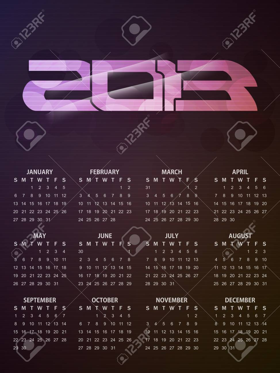 beautiful calendar design in green color for 2013 Stock Vector - 16428437