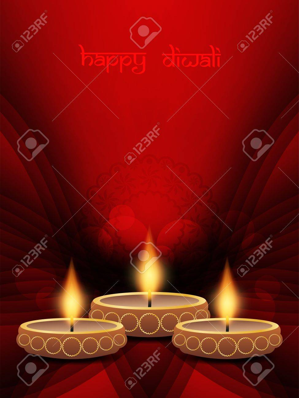 elegant background design for diwali festival with beautiful lamps Stock Vector - 21299194