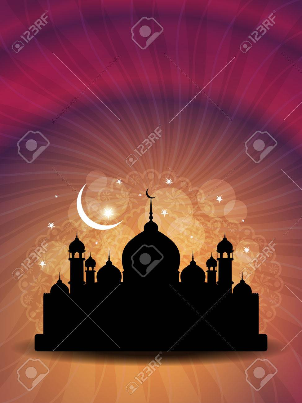 religious eid background design with mosque Stock Vector - 22402686
