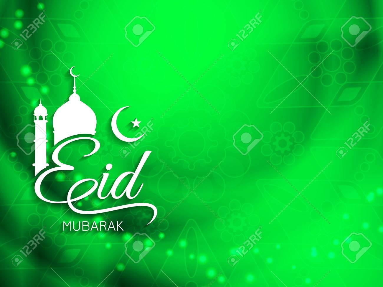Shiny green color Eid Mubarak religious background design