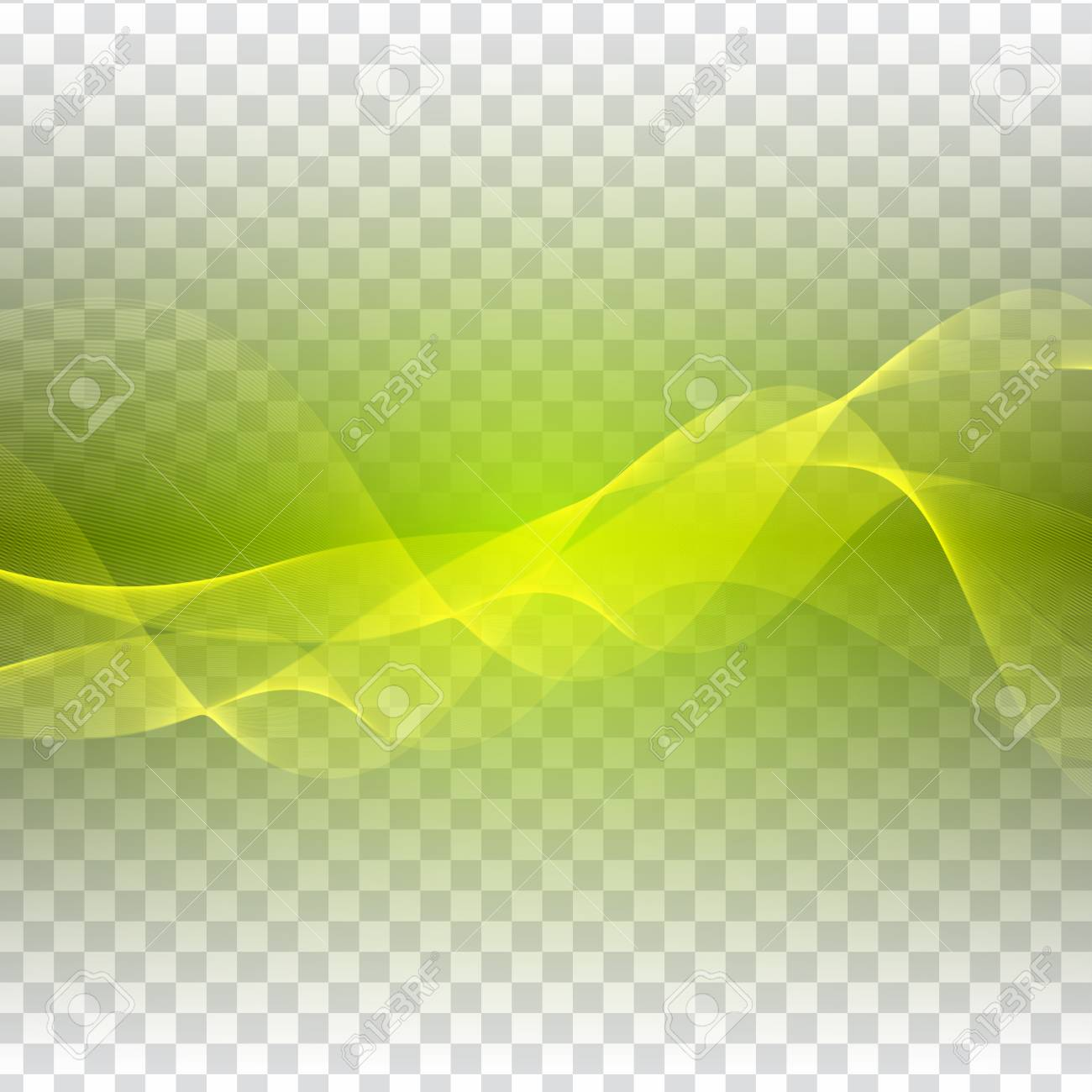 Abstract Green Waves Design On Transparent Background