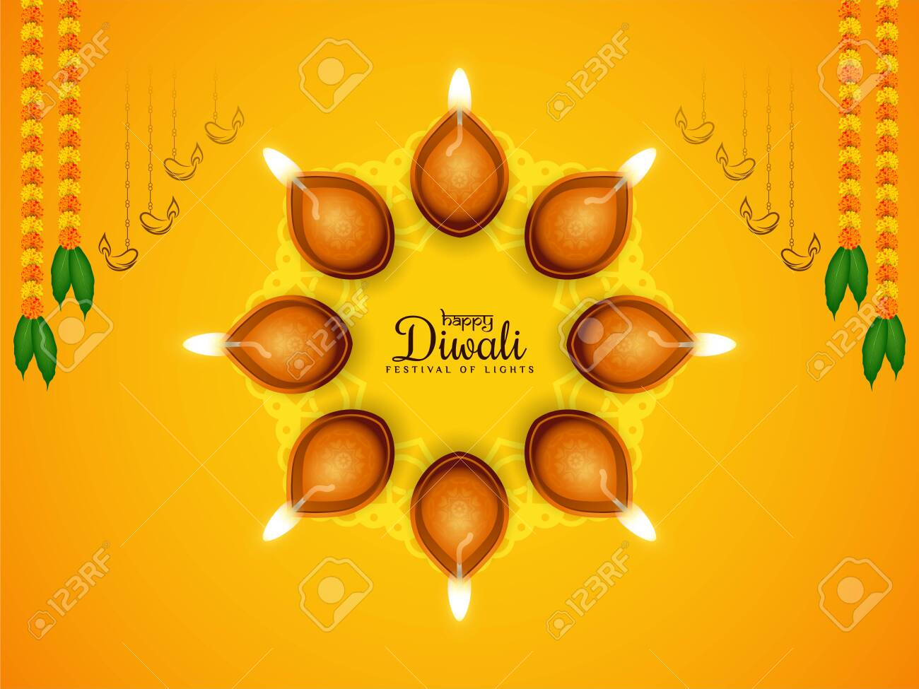 Abstract Happy Diwali festival bright yellow background design vector - 158213851