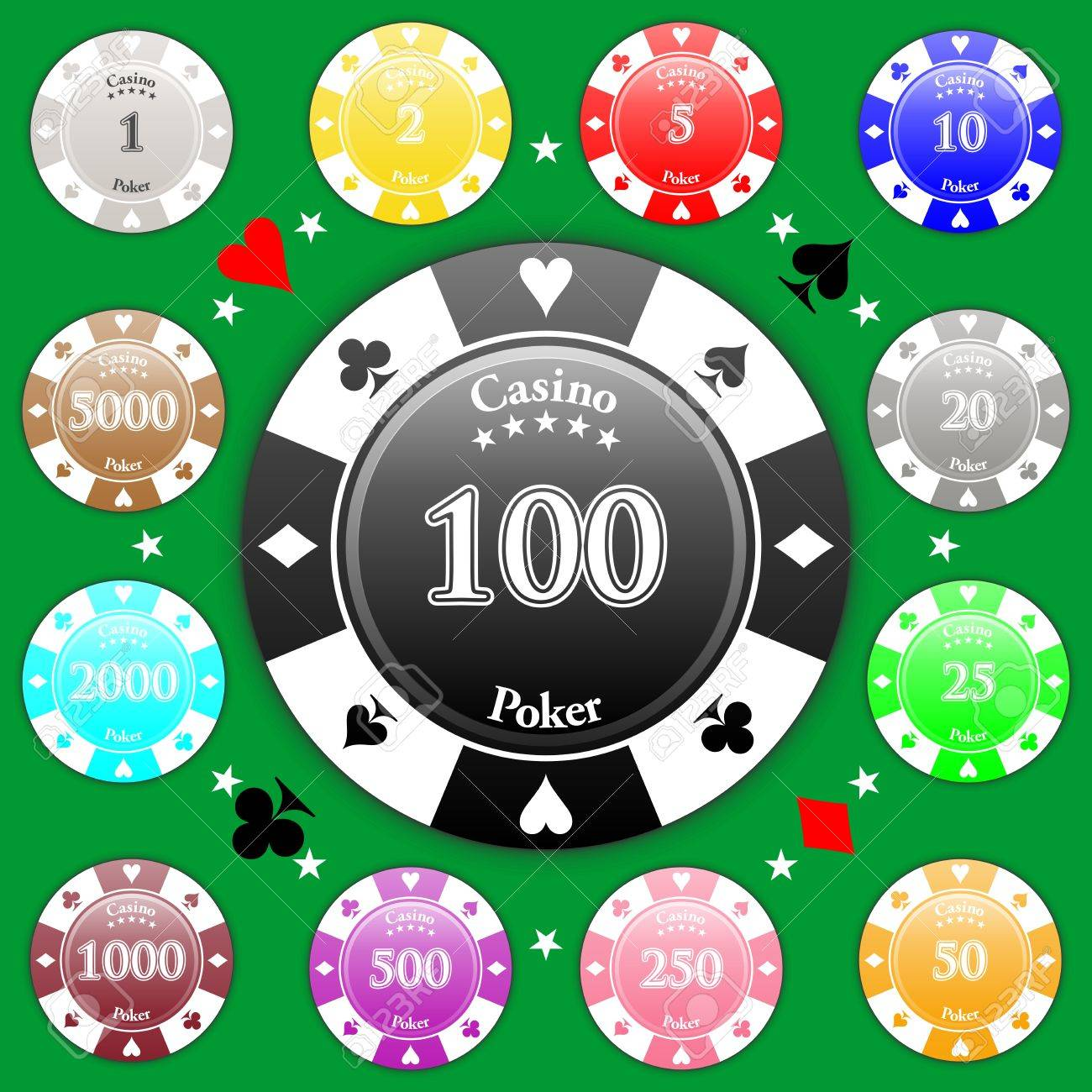 Set Of Poker Chips Of Value From 1 To 5000 Royalty Free Cliparts