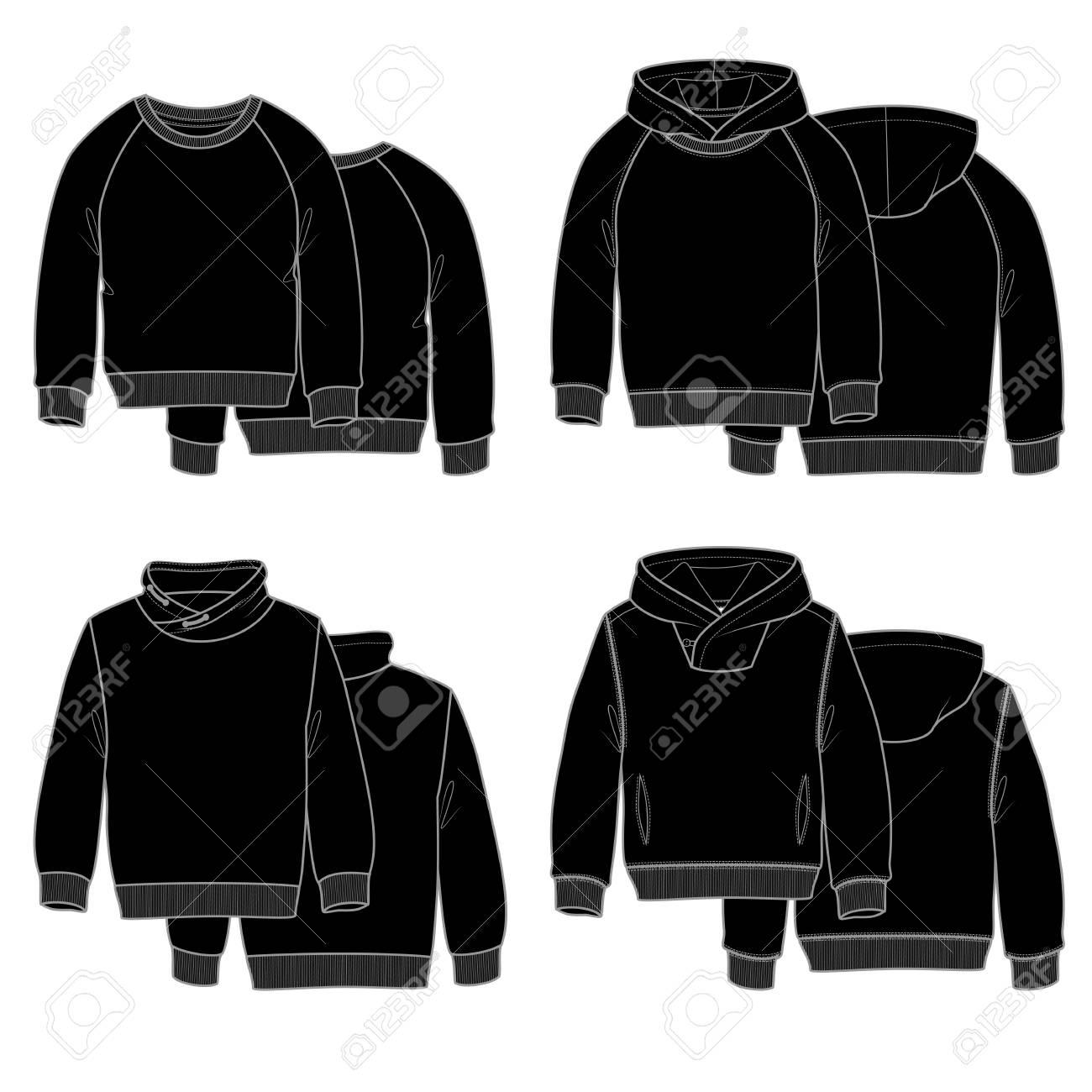4583c48665a54 Foto de archivo - Ilustración vectorial para su diseño. Sudaderas con  capucha negras