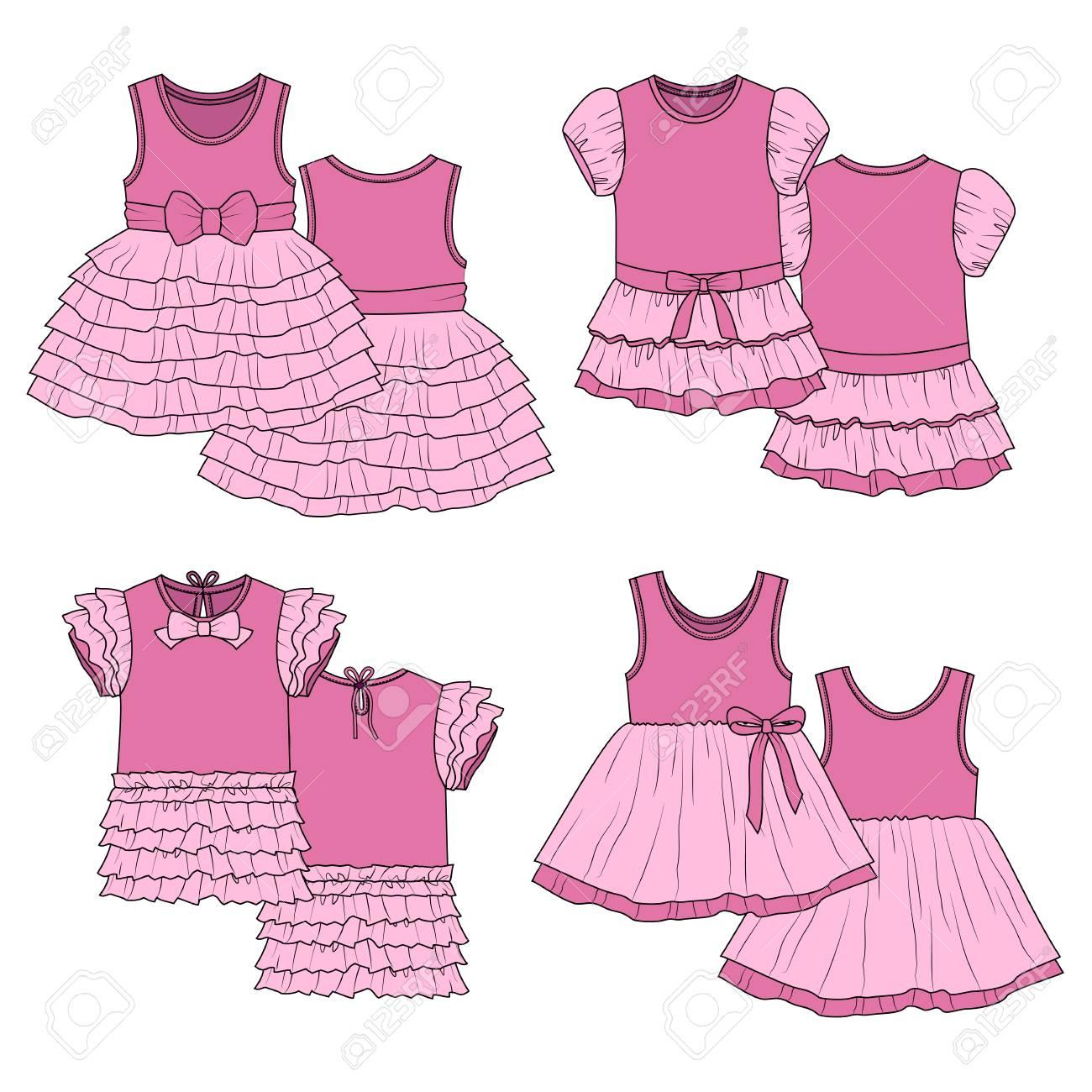 Boceto De Su Diseño. Cuatro Vestidos. Ilustraciones Vectoriales ...