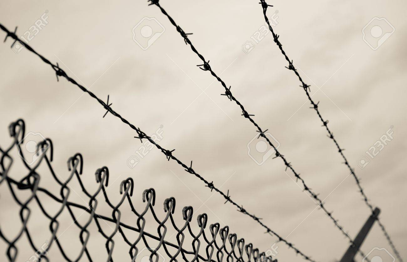 Three Rows Of Barbed Wire On Top Of A Chain Link Fence With An ...