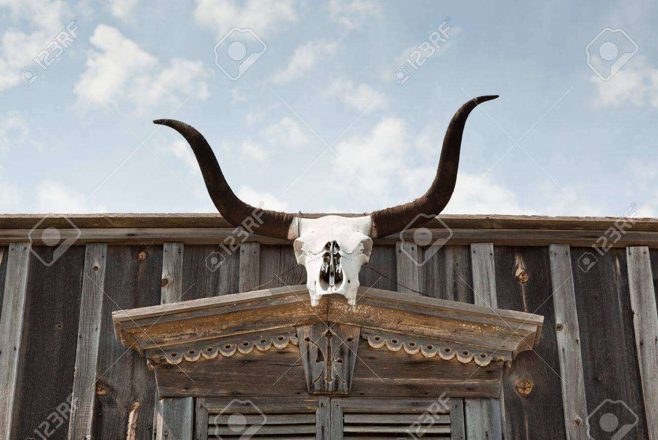 The skull of a Texas longhorn cow is hung above an entrance way of an old western wooden building. Stock Photo - 16156572