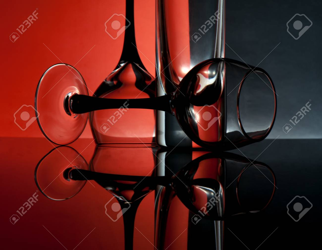 Glass goblets on a colored background abstract Stock Photo - 17468788