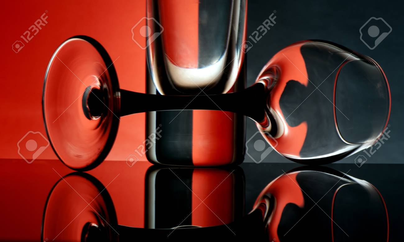 Glass goblets on a colored background abstract Stock Photo - 17468797
