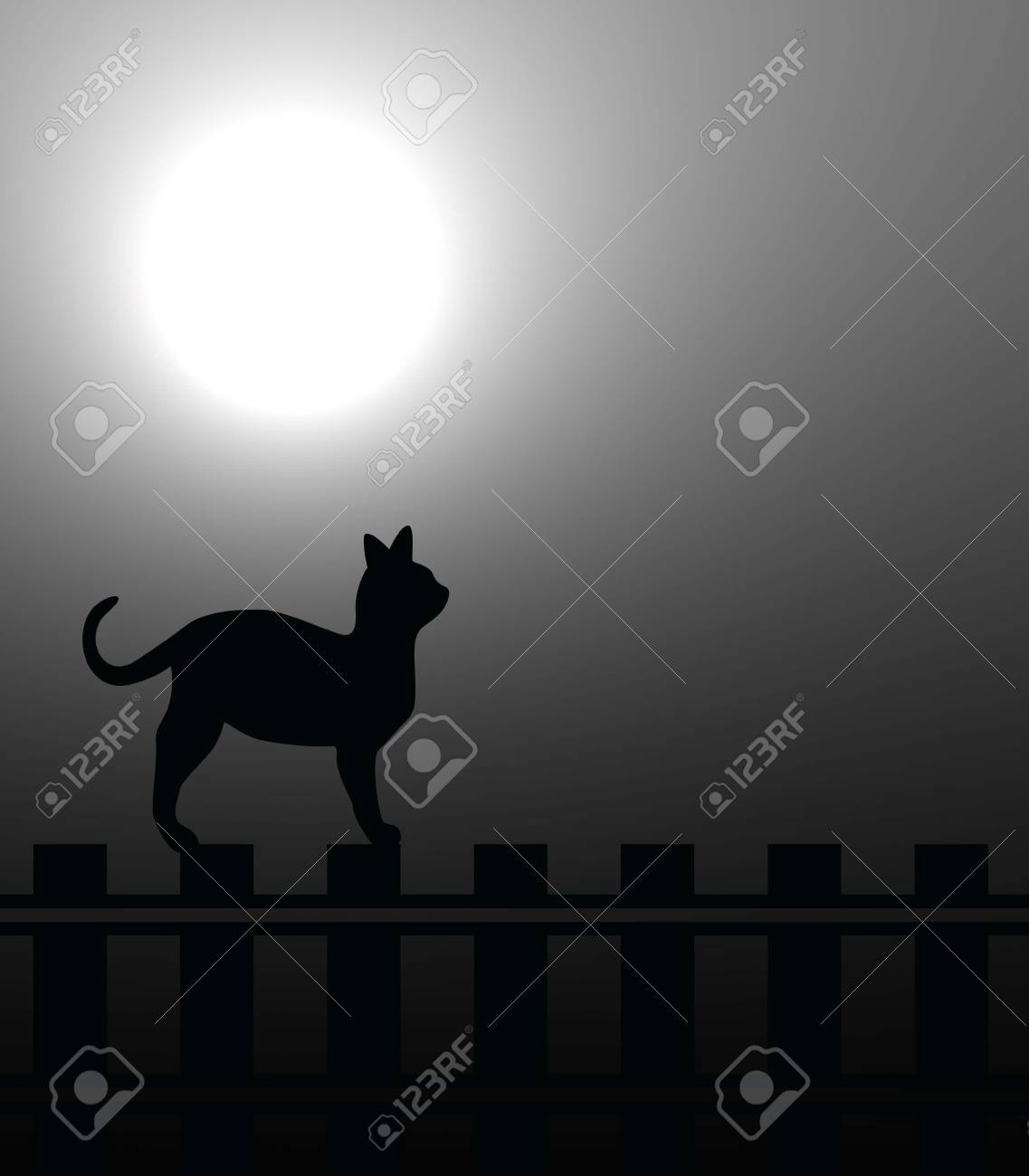 Cat on a fence in the moonlight Stock Photo - 4047882