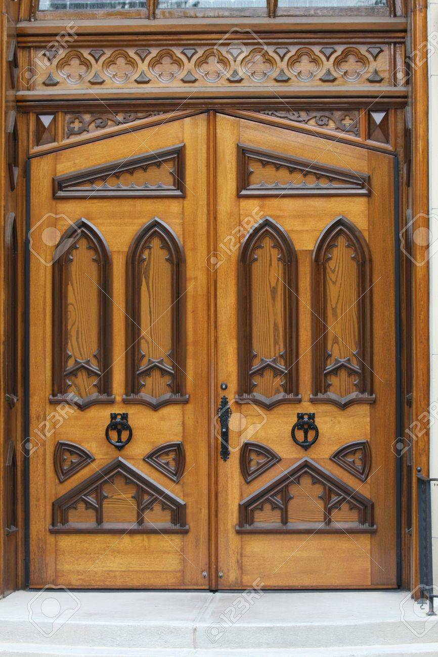 Ornate decorative brown wooden doors with various shapes Stock Photo - 12422195 & Ornate Decorative Brown Wooden Doors With Various Shapes Stock Photo ...