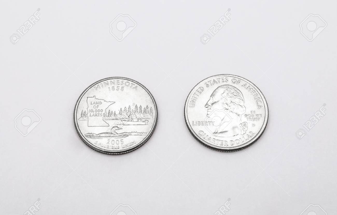 Closeup To Minnesota State Symbol On Quarter Dollar Coin On White