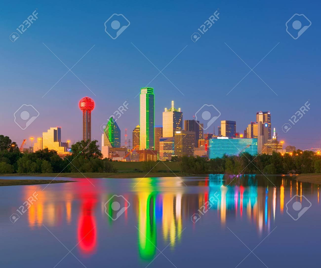 dallas skyline reflection at dawn downtown dallas texas usa stock