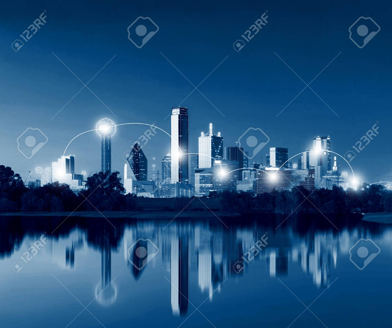 Network and Connection Technology Concept of Dallas Skyline Reflection at Dawn, Downtown Dallas, Texas, USA - 74564591
