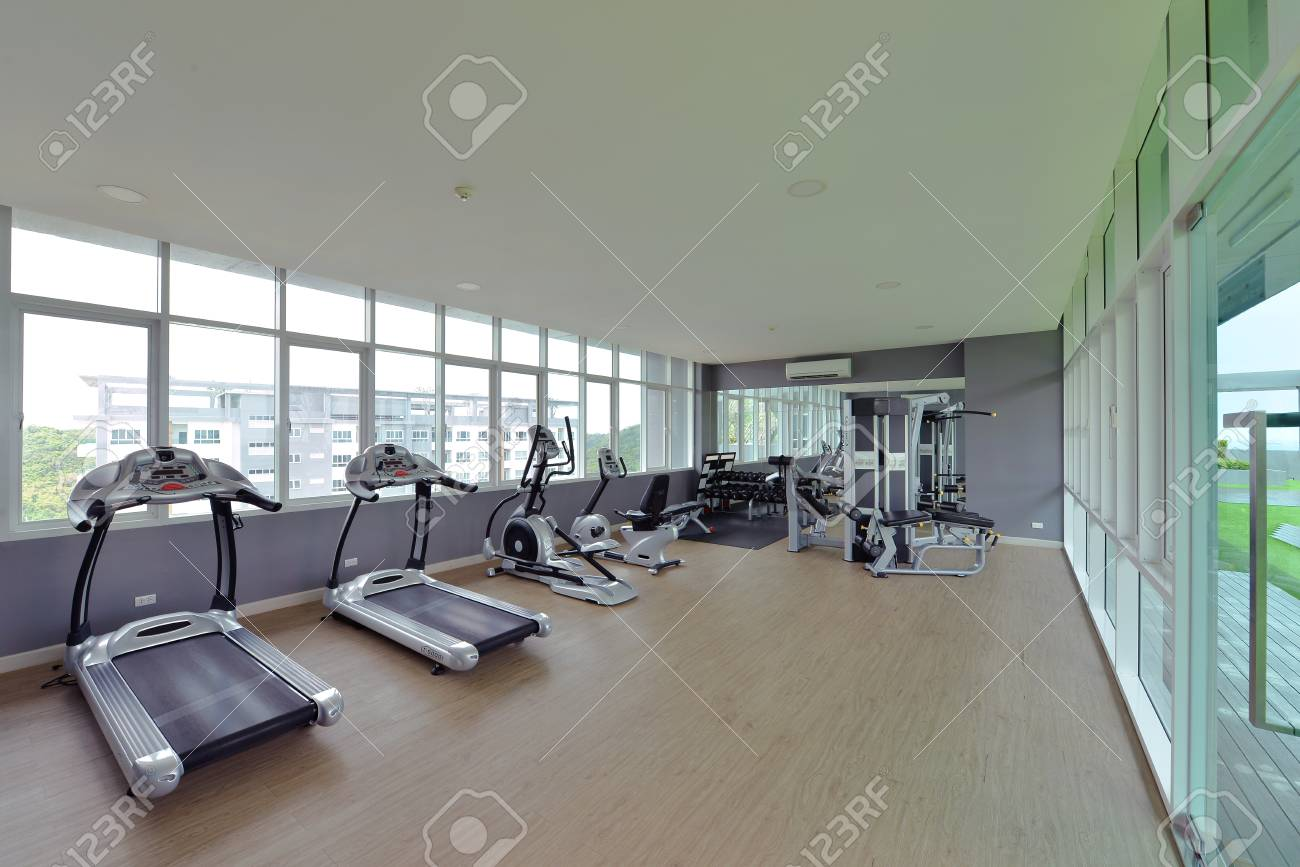 Modern fitness center interior design luxury gym stock photo