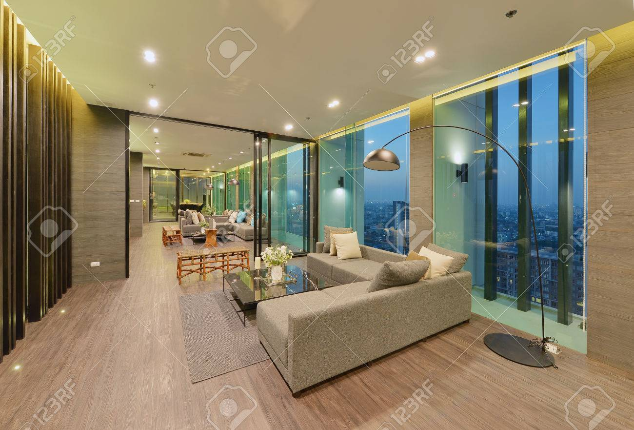 Luxury Modern Living Room Interior And Decoration At Night Interior Stock Photo Picture And Royalty Free Image Image 77959412