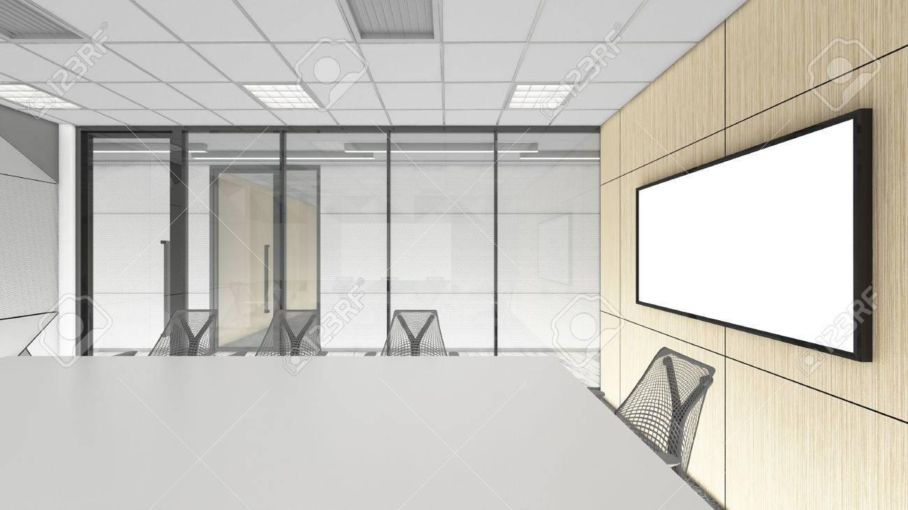 Empty Meeting Room In Office Corporate, 3d Render Interior Design ...
