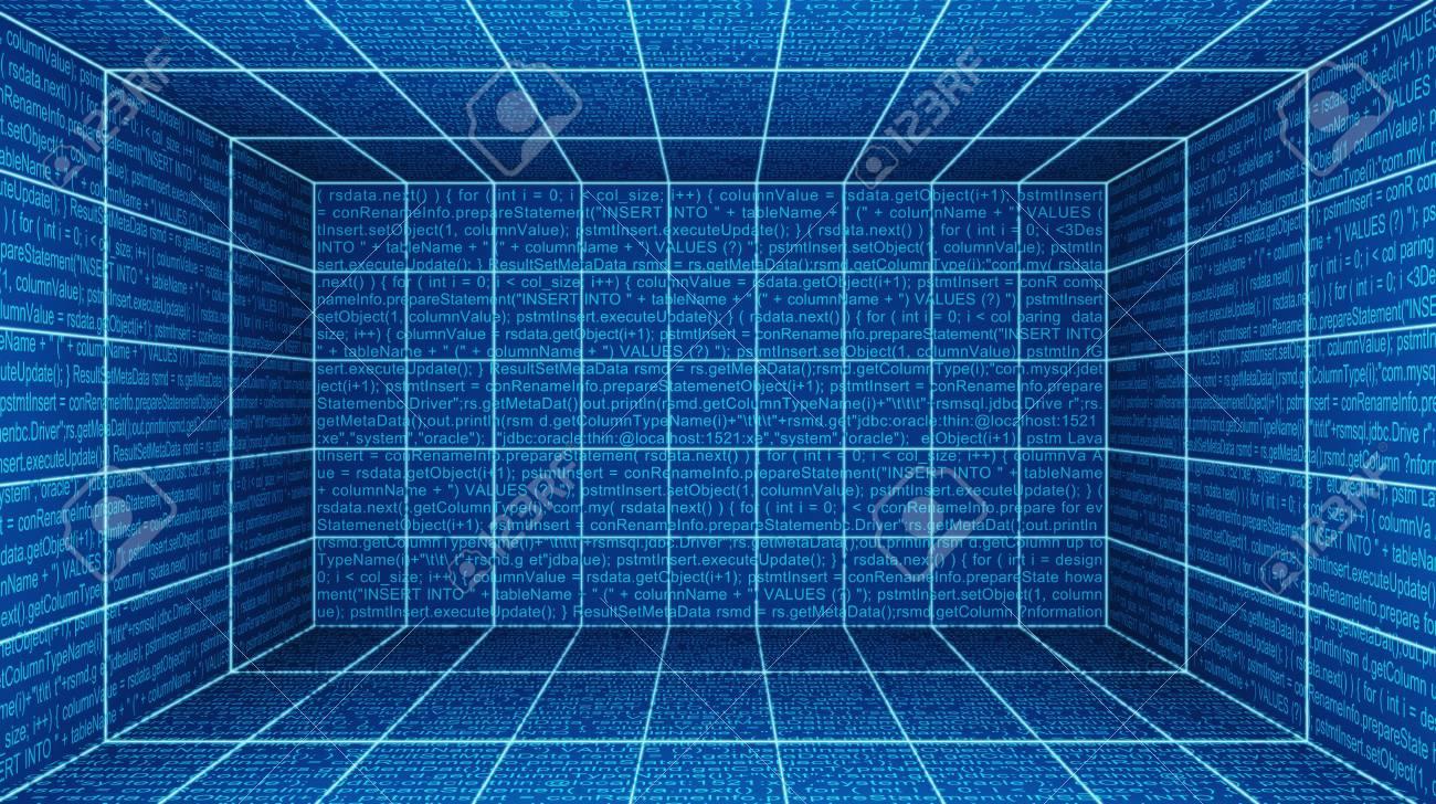 56c81fc95bc8 Stock Photo - Virtual cyber reality room