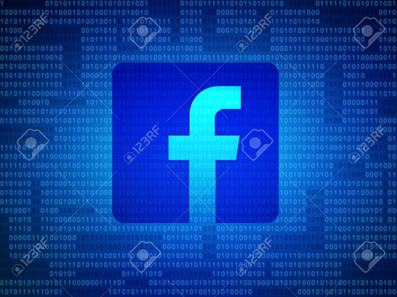 Bangkok, Thailand -2 May 2018 : Facebook security and privacy issues with binary code. 3d illustration - 100795737