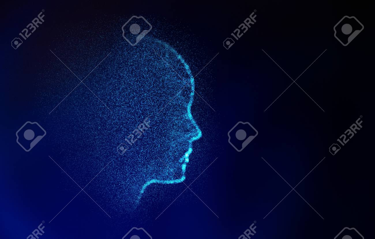 Abstract human shape. Virtual Model on blue, artificial intelligence in futuristic technology concept, 3d illustration - 101222332